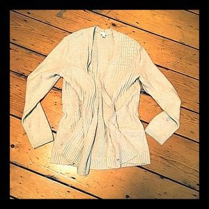 J. Jill cable patch heavy knit cream cardigan S